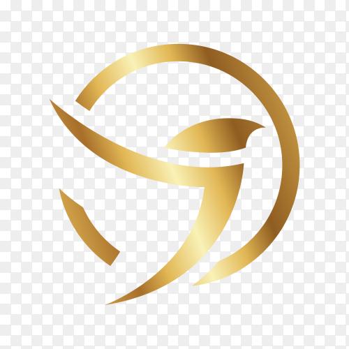 Golden bird logo design on transparent background PNG