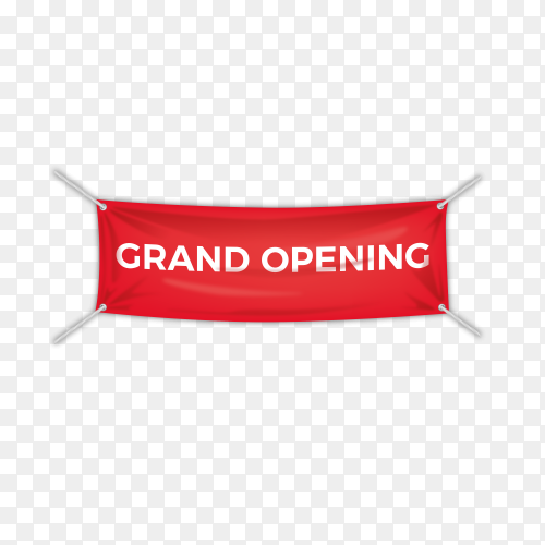 Grand opening , banner design template on transparent background PNG