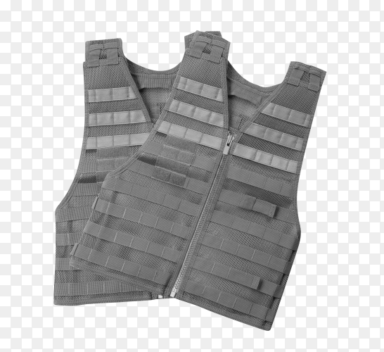 Gray Bulletproof vest isolated on transparent background PNG