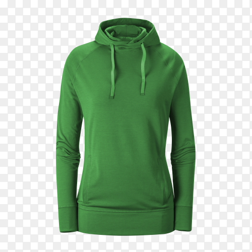 Green Sweatshirt with long sleeve on transparent background PNG