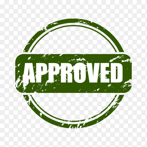 Green approved stamp on transparent background PNG