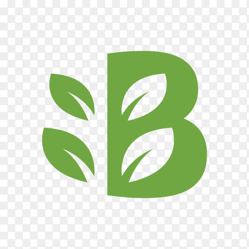 Green logo of letter B on transparent background PNG