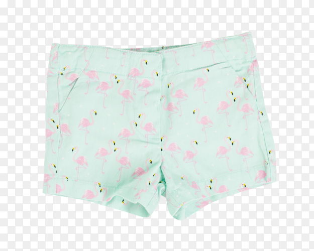 Green shorts with flamingo pattern on transparent background PNG