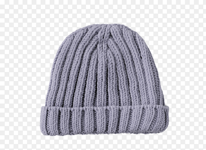 Grey knitted hat isolated on transparent background PNG