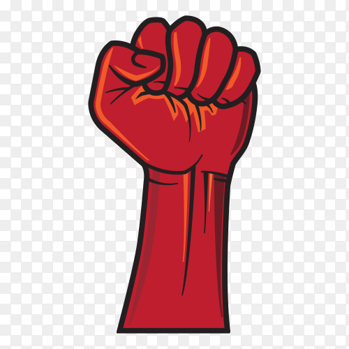 Hand Male Clenched Fist Raised to Top on transparent background PNG