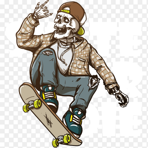 Hand drawing style of skull riding skateboard on transparent background PNG