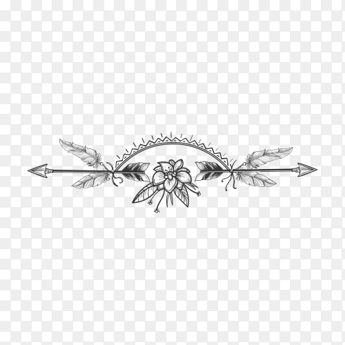 Hand drawn Flower and arrow boho style divider on transparent background PNG