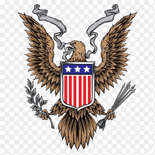 Hand drawn American eagle with flag on transparent background PNG