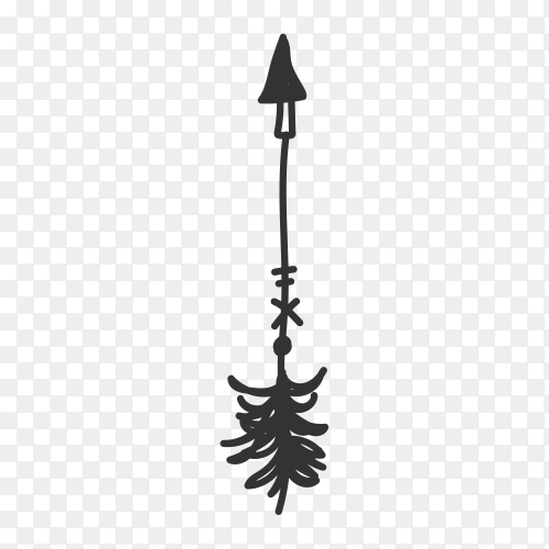 Hand drawn arrow icon . doodle arrow illustration Clipart PNG