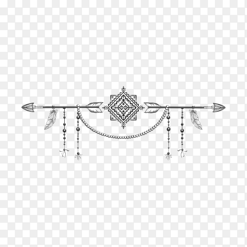 Hand drawn bohemian style dividers with arrows flowers and feathers on transparent PNG