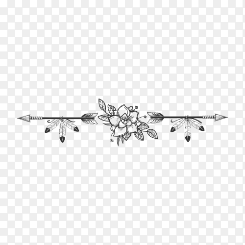 Hand drawn bohemian style dividers with arrows flowers and feathers on transparent background PNG