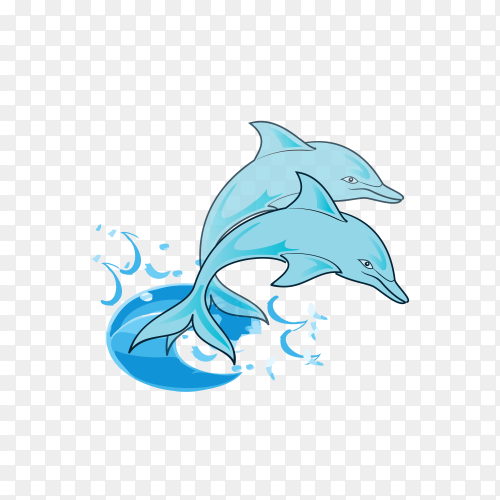 Hand drawn cartoon Dolphin on transparent background PNG