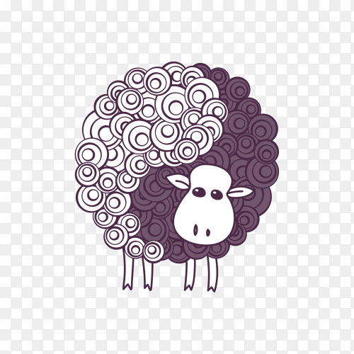 Hand drawn cartoon sheep isolated on transparent background PNG