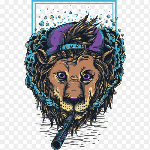 Hand drawn lion face on transparent background PNG
