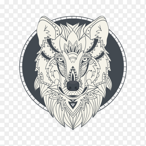 Hand drawn wolf face sketch on transparent background PNG