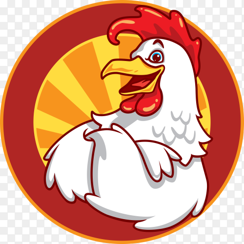 Happy chicken for restaurant logo on transparent background PNG