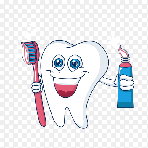 Healthy cute cartoon tooth character smiling happily tooth with toothpaste on transparent background PNG