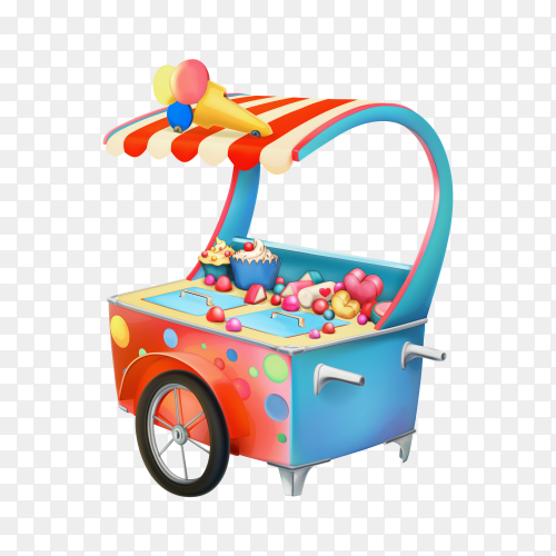 Ice cream trolley on transparent background PNG
