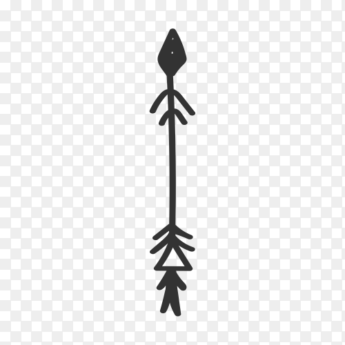 Illustration of Arrow doodle isolated on transparent background PNG