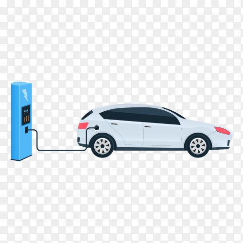 Illustration of electric charging future car, charger station isolated on transparent background PNG