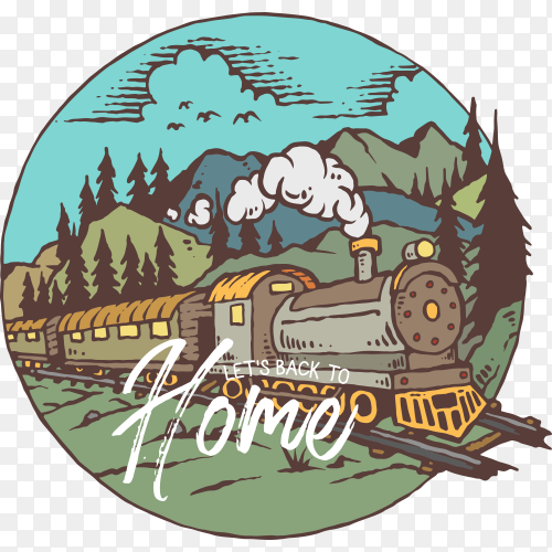 Illustration of train with mountain on transparent background PNG