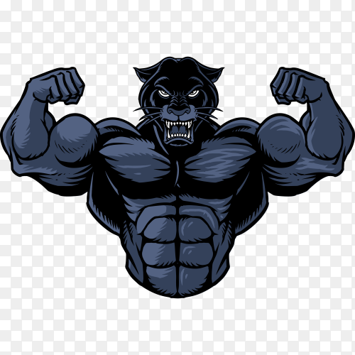 Illustration of strong panther on transparent background PNG