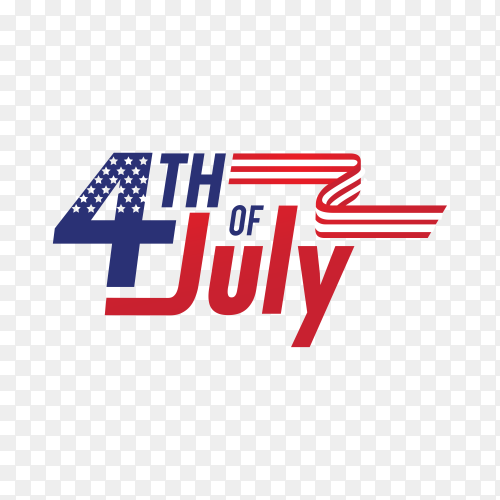 Independence day design with us flag on transparent background PNG