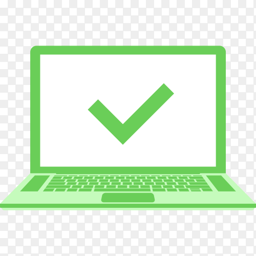 Laptop with check mark on green screen on transparent background PNG