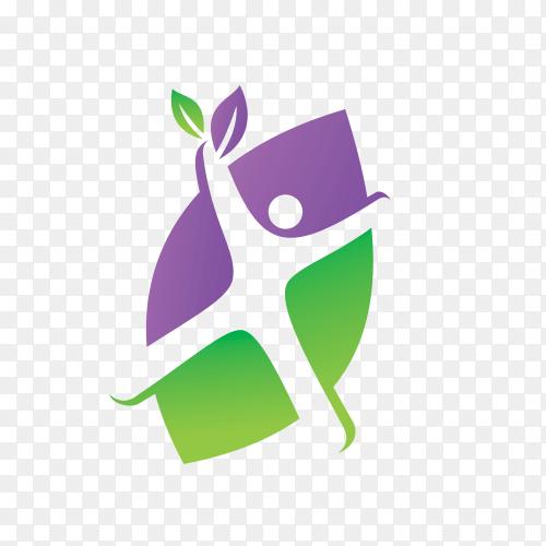 Leaf logo design vector template on transparent background PNG