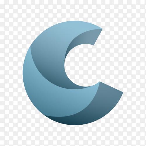 Letter C Logo Design on transparent background PNG