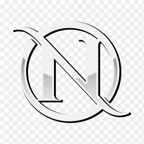 Letter N chrome initial logo template on transparent background PNG
