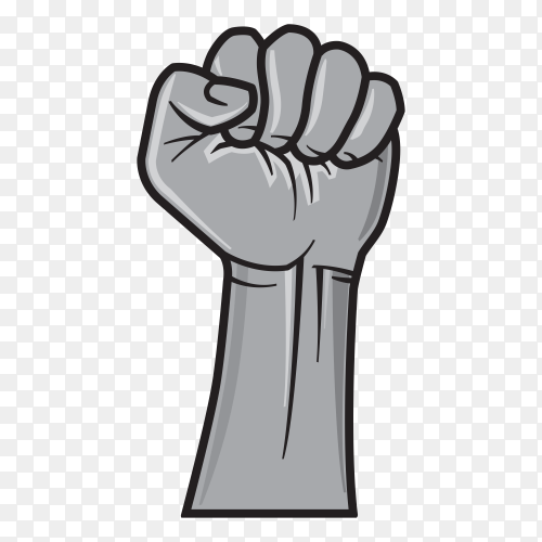 Make fist gesture. Hand in pop art comic style. Illustration isolated on transparent background PNG