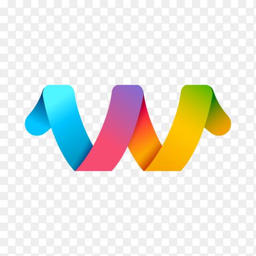 Modern Letter W logo design template on transparent background PNG