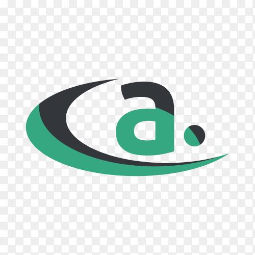 Modern design letter a logo on transparent background PNG