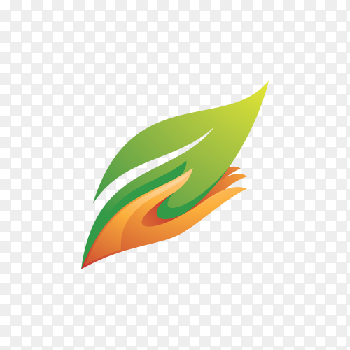 Modern nature leaf and care hand logo icon on transparent background PNG