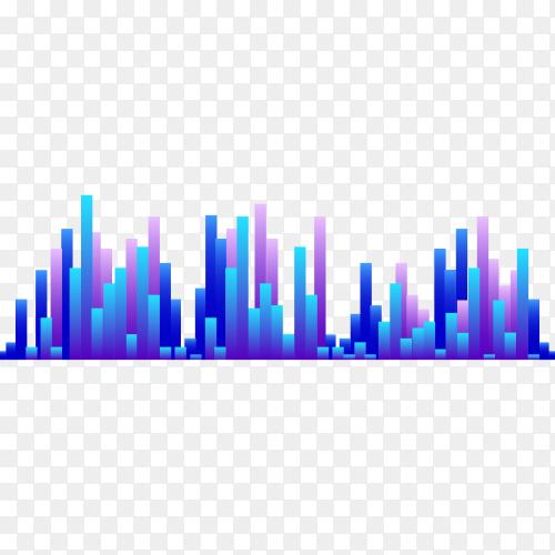 Modern sound wave equalizer illustration on transparent background PNG