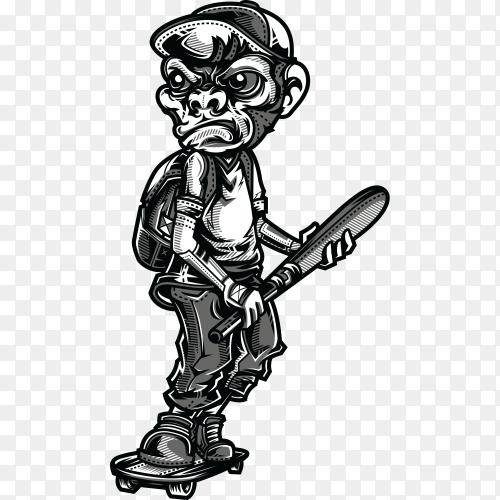 Monkey boy black and white illustration on transparent background PNG