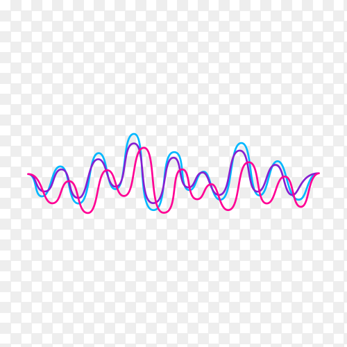 Motion sound wave abstract on transparent background PNG