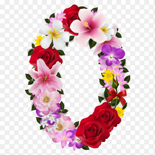 Number (0) with beautiful tropical flowers on transparent background PNG