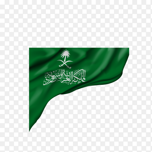 Official flag of the Kingdom of Saudi Arabia on transparent background PNG