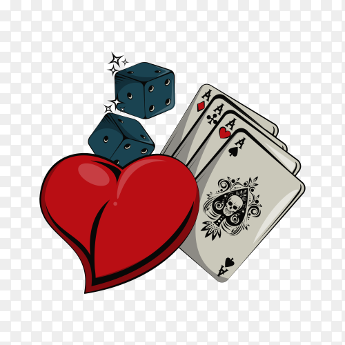 Old school tattoo with poker cards drawing design on transparent PNG