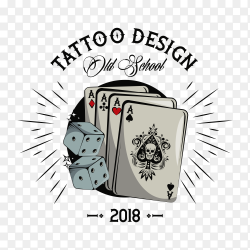 Old school tattoo with poker cards drawing design on transparent background PNG
