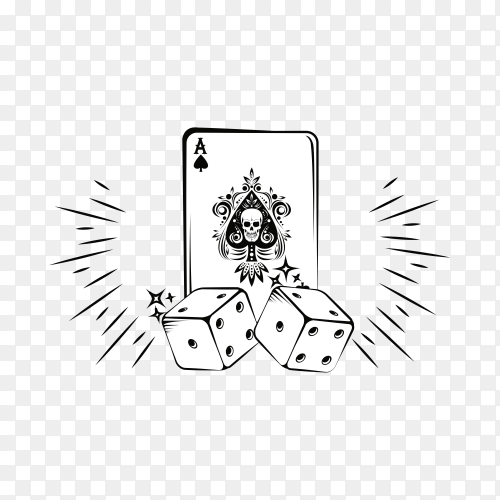 Old school tattoo with poker cards drawing design premium vector PNG