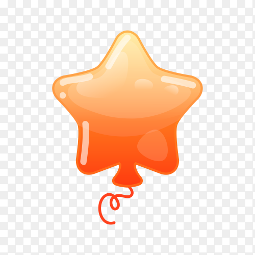Orange balloon with star shape on transparent background PNG