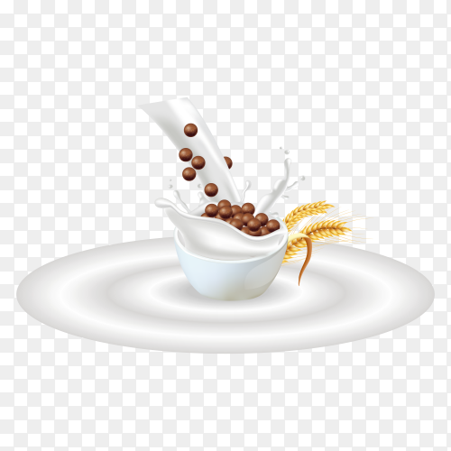 Organic Chocolate cereals in milk splash on transparent background PNG