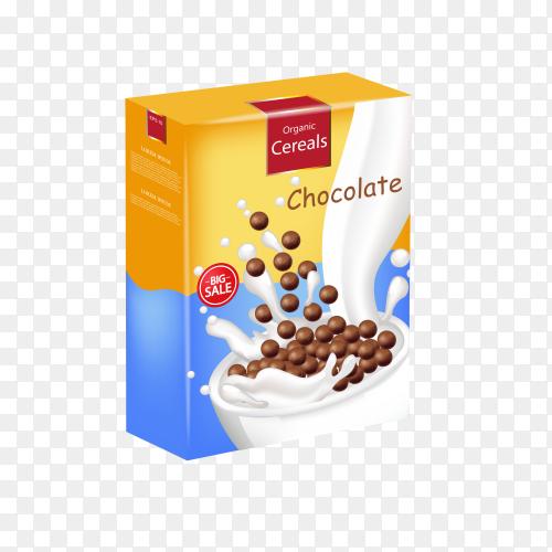 Organic Chocolate cereals milk splash realistic mock up on transparent background PNG