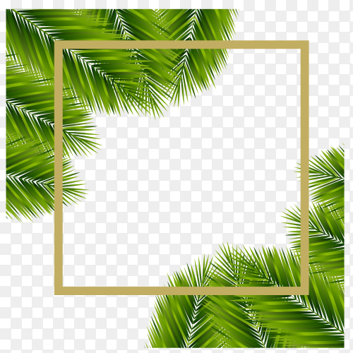 Palm Sunday – greeting banner template for Christian holiday, with palm tree leaves on transparent background PNG