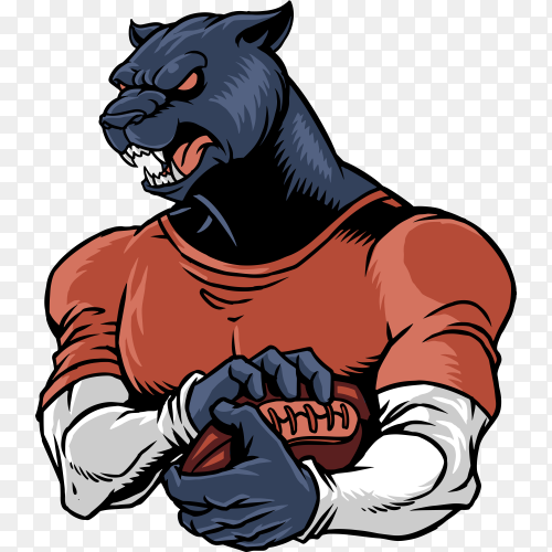 Panther football isolated on transparent background PNG