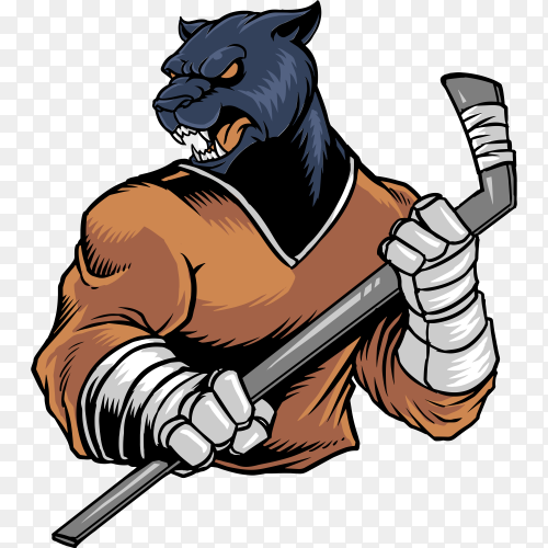 Panther hockey on transparent background PNG