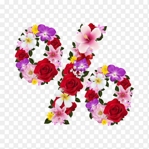 Percent sign with beautiful tropical flowers on transparent background PNG